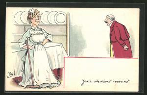 AK Your obedient servant, Hausherr und Dienstmädchen