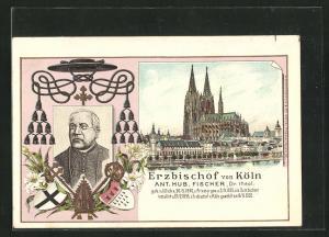Lithographie Köln, Dom, Erzbischof Ant. Hub. Fischer