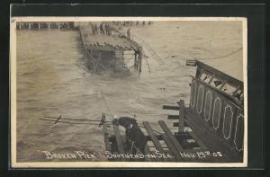 Foto-AK Southend-on-Sea, Broken Pier Nov. 23rd 1908, Eingestürzte Seebrücke