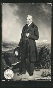 AK Portrait Ingenieur George Stephenson, Hauptbegründer des Eisenbahnwesens