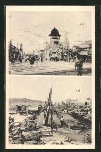 AK Yokohama, zerstörte Ortschaft nach einem Erdbeben