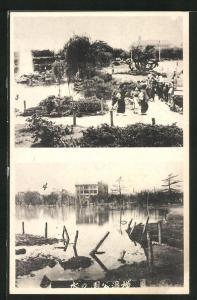 AK Yokohama, Ortsansichten vor und nach dem Erdbeben mit Überschwemmung