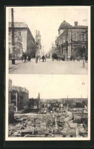 AK Yokohama, Ortsansichten vor und nach dem Erdbeben