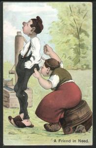 AK A Friend in Need, Mädchen auf einem Fass näht jungen Mann die Hose