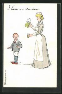 AK I have no desire, Dienstmädchen mit einer Flasche Castor Oil