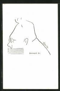 Künstler-AK Profilzeichnung des Schriftstellers Guimera