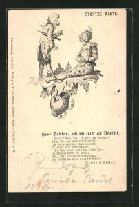 Künstler-AK Stoltze-Karte: Herr Doktor, ach ich leid an Dorscht...