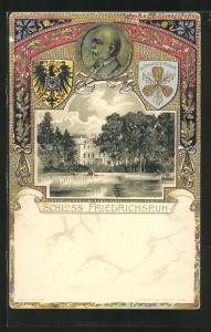 Präge-Lithographie Schloss Friedrichsruh und Reliefportrait Bismarck