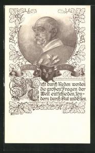 Künstler-AK Portrait Fürst Otto von Bismarck mit Eichenlaub