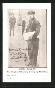 AK Newsboy James Bendon mit Zeitung