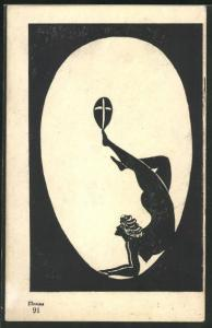 AK Ilumna-Leucht-Postkarte, Erotische Silhouette