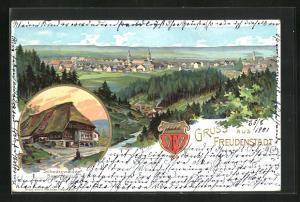 Präge-Lithographie Freudenstadt, Gesamtansicht, Schwarzwälder Bauernhaus, Wappen