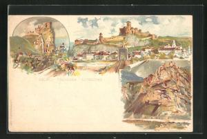 Lithographie Trencsen, Gesamtansicht, Ruine