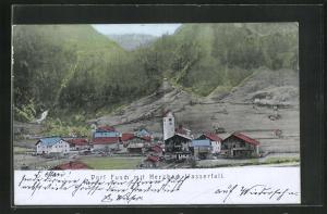 AK Dorf Fusch, Ortsansicht mit Herzbach-Wasserfall