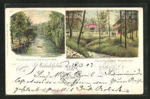 Lithographie Philadelphia, PA, the Wissahickon Fairmount Park, Indian Rock-Hotel