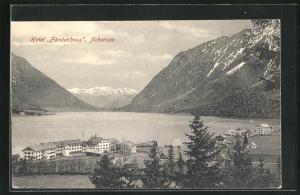 AK Achensee, Hotel Fürstenhaus aus der Vogelschau