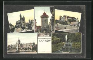 AK Krakau-Krakow, Sukiennice, Sadzawka, Wawel