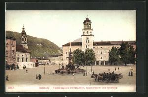 AK Salzburg, Residenzplatz mit Brunnen, Glockenturm & Gaisberg