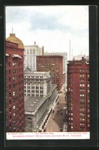 AK Chicago, IL, Dearborn Street, North from Jackson Blvd, Mnadnock Bldg, New Postoffice Bldg, Great Northern Hotel