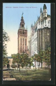AK Sevilla, Catedral, Giralda y Patio de Naranjos