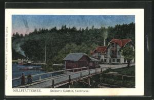 Luna-AK Seeboden, Millstättersee, Steiner`s Gasthof, Seebrücke