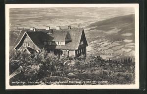 AK Heufuderbaude, Blick auf Bad Flinsberg und das Queistal im Isergebirge