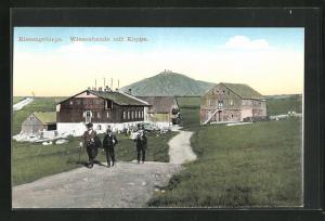 AK Wiesenbaude, Ansicht mit Schneekoppe im Riesengebirge