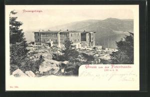 AK Peterbaude, Blick zur Baude mit Bergen dahinter im Riesengebirge