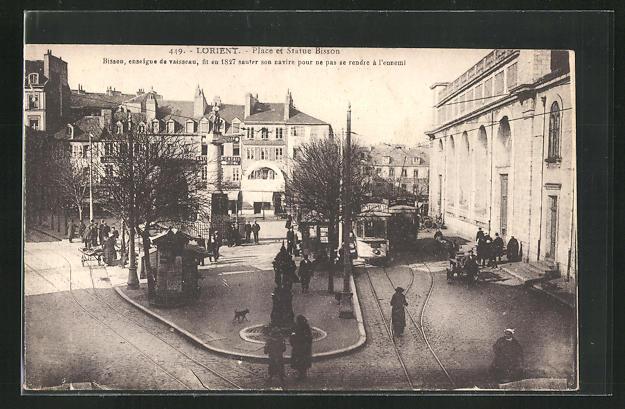 AK Lorient, Place et Statue Bisson, Strassenbahn 0