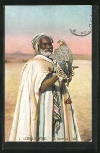 AK Un Fauconnier arabe, Arabischer Falkner, Nordafrika