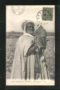 AK Fauconnier, Falknerei / Beizjagd, Nordafrika