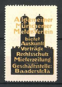 Reklamemarke Allgemeiner Münchner Mieter-Verein mit Rechtschutz, Frauenkirche