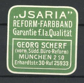 Präge-Reklamemarke Isaria Reform-Farbband, Georg Scherf München