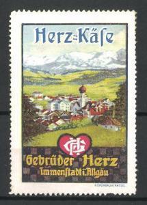 Reklamemarke Herz-Käse der Gebr. Herz Immenstadt, Ortsansicht vom Berg