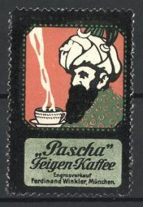 Reklamemarke Pascha Feigen-Kaffee, Inder trinkt heissen Kaffee
