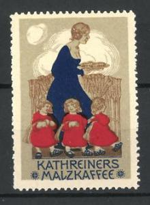 Reklamemarke Kathreiners Malzkaffee, Kindermädchen mit drei Mädchen