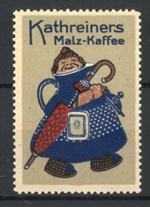Reklamemarke Kathreiners Malzkaffee, Dame mit Schirm in einer Kaffeekanne