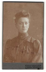 Fotografie Adolf Grönlund, Segeberg, Portrait hübsch gekleidete Dame mit Hochsteckfrisur