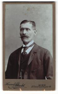 Fotografie Heinrich Albrecht, Wien, Portrait betagter Herr mit gezwirbeltem Schnauzbart und Ohrring