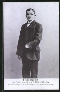 AK Breslau, Jurist Franz Biewald, Opfer des 19.4.1906, Hand abgeschlagen