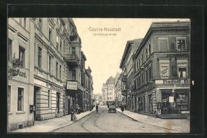 AK Cüstrin-Neustadt / Kostrzyn, Blick in die Landsbergerstrasse