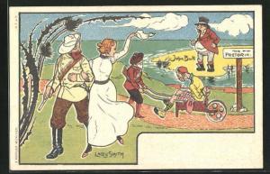 AK Lady Smith winkt John Bull auf Wiedersehen, Burenkrieg
