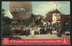 AK Hamburg, deutsches Bundesschiessen 1909, Restaurant Rotenburg, Heissluftballon
