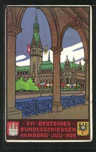 AK Hamburg, Rathaus, XVI deutsches Bundesschiessen 1909