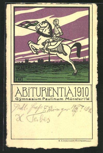 AK Münster, Reiter auf Pferd mit Lanze, Abitur 1910 Gymnasium Paulinum 0