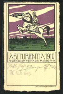 AK Münster, Reiter auf Pferd mit Lanze, Abitur 1910 Gymnasium Paulinum