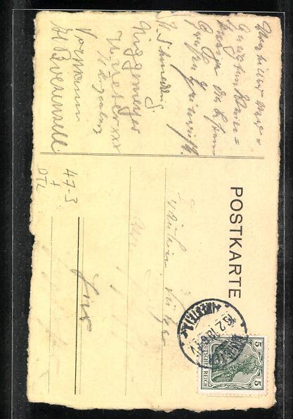AK Münster, Reiter auf Pferd mit Lanze, Abitur 1910 Gymnasium Paulinum 1