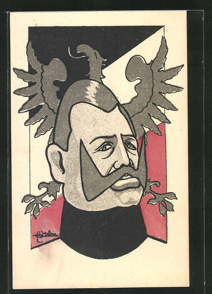 AK Kaiser Wilhelm II. vor deutscher Flagge, Propaganda Entente 0