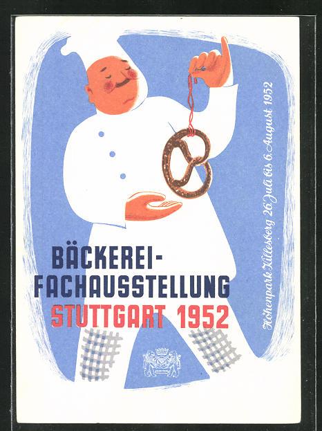 AK Bäcker mit Brezel, Bäckerei-Fachausstellung Stuttgart 1952 0