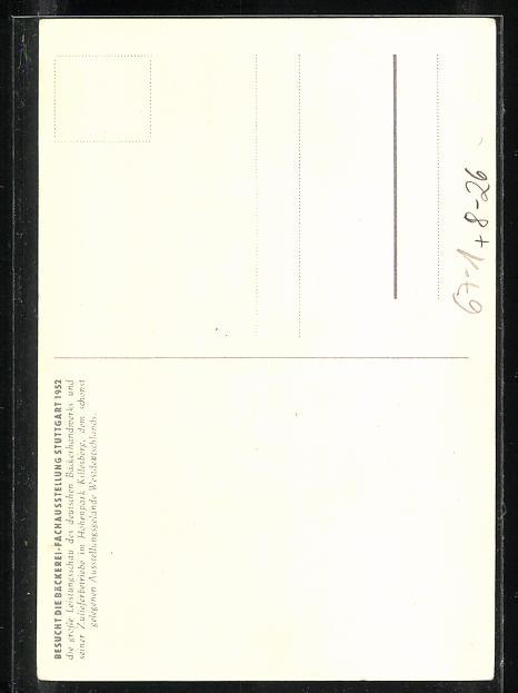 AK Bäcker mit Brezel, Bäckerei-Fachausstellung Stuttgart 1952 1